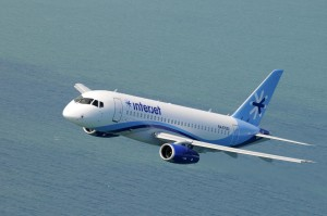 Interjet SSJ100 flying